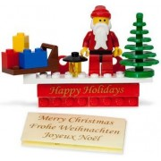 LEGO Christmas Holiday Magnet Set with Santa Claus, Tree, and Sleigh