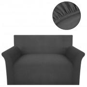 vidaXL Strečový potah na pohovku, šedý polyester, žebrová pletenina