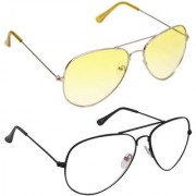 Magjons Fashion Combo Of yellow And Clear Lens Aviator Sunglasses