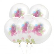 Nuolux Confetti Balloons Transparent With Colorful Love Confettis,5Pcs