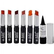 ADS Glossy Shine Lipstick Pack of 6 And Free Kajal-GPTGU-A7