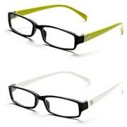 Rsg2-Rsw6 Black-White Frame Rectangle Unisex Eyeglasses - Buy 1 Get 1 Free
