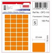 Etichete autoadezive color, 16 x 22 mm, 320 buc/set, Tanex - orange fluorescent