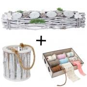 3er Set Windlicht + Bänder + Gesteck, Deko-Box Bänderbox 9 Rollen Kerzenhalter mit Glaseinsatz ~ Variantenangebot