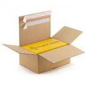 """Caisse carton brune montage instantané et fermetures adhésives """"aller-retour"""""""