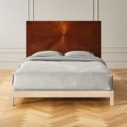 Ray Marquetry Headboard Queen + White Washed Wood Frame by CB2