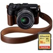 Aparat Foto Mirrorless Canon EOS M3 Premium Kit EF-M 18-55, 24 MP, Filmare Full HD (Negru)