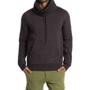 Helmut Lang Brushed French Terry Cowl Neck Hoodie GUNMETAL