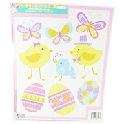Easter Decorative Window Clings - Cute Little Baby Chicks Butterflys & Easter Eggs Theme- 9 Clings