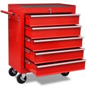 vidaXL Количка за инструменти с 5 чекмеджета, червена