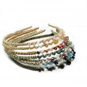 AliExpress # WX1008 Vrouwen Acessorio Para Cabelo Pebbles Haarband Metalen Haarband Met Rhinestone Bezel Rood Roze Clear Stone Hoofd Ring/velg