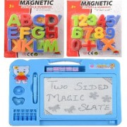 Combo of Magnetic Learning Alphabets and Numbers (ABC 123) with drawing writing Double Side Magic Slate for kids