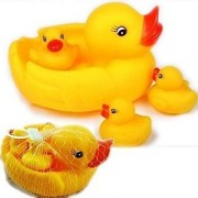 Nawani Combo Pack Duck Family Baby Bathing Toys 8 Set Yellow Rubber Squeaky Lovely Ducklings