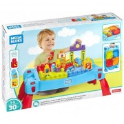Set Cuburi de Construit Mega Bloks, masuta Build and Learn, 30 piese