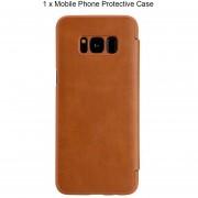 ER De Lujo De Cuero De Color Sólido Maletín Abatible De Teléfono Adecuado Para Samsung Galaxy S8+ -Brown