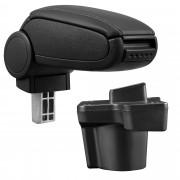 Středová loketní opěrka - vhodná pro: Mazda 2 - umělá kůže - Černá s černými švy