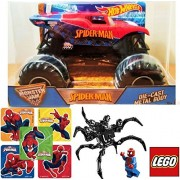 Spider-Man Hot Wheels Monster Jam 1:24 Scale & LEGO Marvel Heroes Spider-Man vs. The Venom Symbiote minifigure comes with the Super Jumper attachment + Marvel Super Hero Stickers Super Truck Set