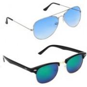 Royalmede Aviator, Clubmaster Sunglasses(Blue, Multicolor)