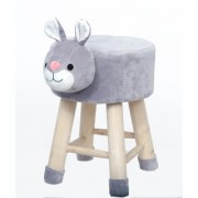 Welhouse India Bunny/Rabbit Animal Shaped Ottoman/Foot Stool for Kids 30x30x42CMS- Grey