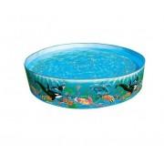 Piscina rotunda cu perete solid si imprimeu cu animale marine 183 x 38 cm