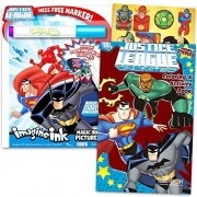 Justice League Imagine Ink Coloring Book Set -- 1 Mess-Free Book, 1 Coloring Book, Stickers, Mess Free Marker by Justice League Party Supplies