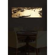 Tablou pe panza iluminat Shining, 239SHN1209, 30 x 90 cm, panza