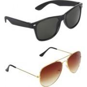 Abner Wayfarer, Aviator Sunglasses(Green, Brown)
