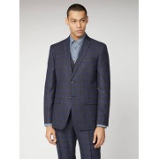 BS Signature Tailoring Blue Mustard Shadow Check Tailored Fit Suit Jacket 40L Blue