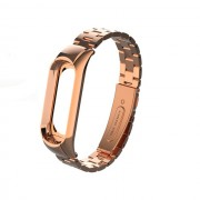 Screwless Three Beads Stainless Steel Watch Band Strap for Xiaomi Mi Smart Band 4 / Mi Band 3 - Rose Gold