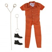 Dovewill 12'' Action Figure Outfit Clothing 1/6 Scale Prison Uniform Prisoners Jumpsuit T-Shirt Shoes Hands Feet Cuff