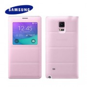 Official Samsung Galaxy Note 4 S View Cover Case - Baby Pink