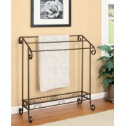 900833 Coffee dark bronze finish metal towel quilt rack