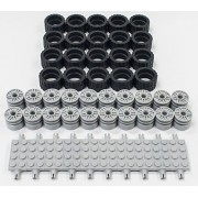 New Lego 24 X 14 Tire, Wheel And Technic Plate Axles Bulk Lot 50 Pieces Total