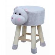 Welhouse India Hippo Animal Shaped Ottoman/Foot Stool for Kids 30x30x42CMS- Grey