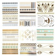 Metallic Tattoo Stickers - 12 Sheets Temporary Tattoo Waterproof,Bracelets, Wrist and Arm Bands, Necklaces, Geometry, Wrist Band, Arm Band, Easy to Apply for all Ages