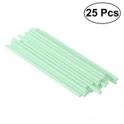 TENDYCOCO 25 Pcs Party Paper Straws Drinking Stripe Straw Wavy Line Paper Straws Decorative Drinking Straws for Party Event Decor (Light Green)