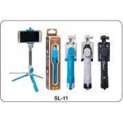 Signature SL-11 Tripod cum Selfie Stick Cum Camera or Mobile Stand for Mobiles and Cameras (Assorted Colors)