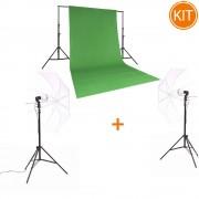 Kit Studio Chroma Green + Hakutatz VL-35K 2xLampi LED 35W + Quadralite L-2800G Bara Fundal + Fancier WT-806P 2xStative 2.8m