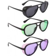 NuVew Aviator, Shield Sunglasses(Black, Green, Violet)