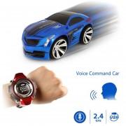 2.4GHz Mini Rc Coche De Control Remoto De Comando De Voz Auto Smart Watch Sports Car Toy (azul)