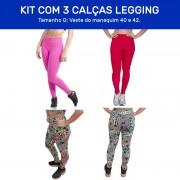 Kit 3 Calças Legging Fitness - e Tecido Bolha para Academia Tamanho G - ES101K
