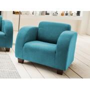 Benformato Sessel in petrolfarbenem Microfaser bezogen mit Wellenunterfederung und Komfortschaum, Holzfüße wengefarben, Maße: B/H/T ca. 85/72/93 cm