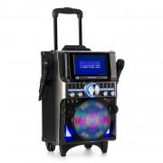 Auna Pro DisGo Box 360, BT караоке система, 2 микрофона, HDMI, BT, LED, USB, колела, черен (KS1-DisGo 360 TFT)