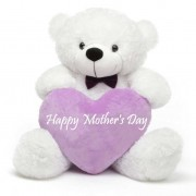 2 feet big white teddy bear with purple Happy Mothers Day Heart