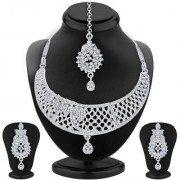 Sukkhi Trendy Rhodium Plated AD Necklace Set For Women