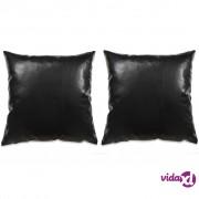 vidaXL Set jastuka od PU kože 2 kom 60x60 cm crni