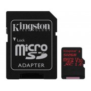 Kingston Canvas React microSDXC-Kort 512 GB Class 10, UHS-I, Class 3 UHS-I , v30 Video Speed Class inkl. SD-adapter