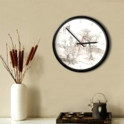 12 inch Home Office Bedroom Decoration Rural Pattern Non Ticking Round Wall Quartz Clock