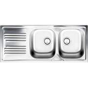 apell Tm1162ilpc Lavello Cucina Incasso 2 Vasche Con Gocciolatoio Sx Larghezza 116 Cm Materiale Acciaio Finitura Prelucida - Serie Atmosfera Tm1162ilpc
