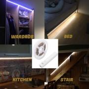 LED pas do kuchyně, postel, schodiště SADA 1M pás na senzor pohybu na 4xAAA baterie - PACK